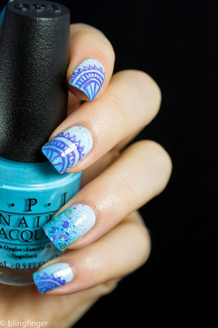 Blue Asian Nail Art using stamping