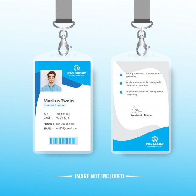 Blue Simple Id Card Design Template Card Design Colorful Business Card Business Cards Creative