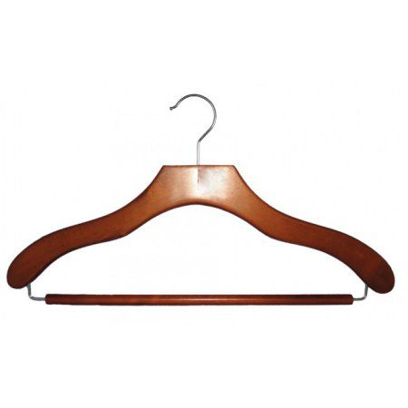 Nahanco Wooden Suit Hangers - Contemporary Series - 17 inch Cherry Finish - Home Use
