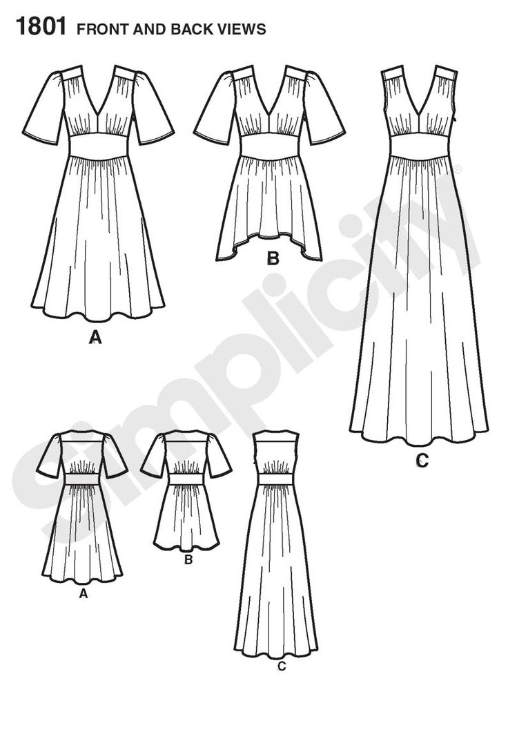 """Simplicity 1801 (36""""-44"""" busts), View A without sleeves, 3 1/2 or 2 5/8 (Laundered Cottons, Batiks, Lightweight Sateen, Silks) (notions: one 14"""" invisible zipper, 1 1/8 yards of 20""""-25"""" lightweight fusible interfacing): Line Drawings, Cynthia Rowley, Dress Sewing Patterns, Sewing Patterns Other, Sewing Patterns Simplicity, Simplicity Patterns, Dresses Patterns"""
