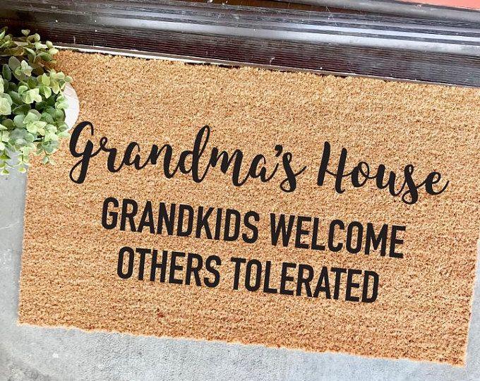 Customizable Grandma S House Grandkids Welcome Others Tolerated Gift Ideas For Grandma Mimi Grammy Funny Welcome M Door Mat Diy Grammy Gift Door Mat