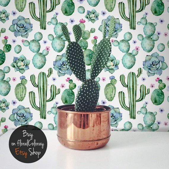 Charming Watercolor Cactus Wallpaper Succulents Wall Mural Peel