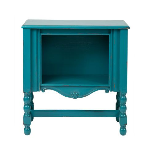 Leeds Turquoise Mahogany Rectangle Accent Table