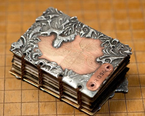 Etched and Soldered Metal Book  Rose by LeslieMarsh on Etsy, $65.00