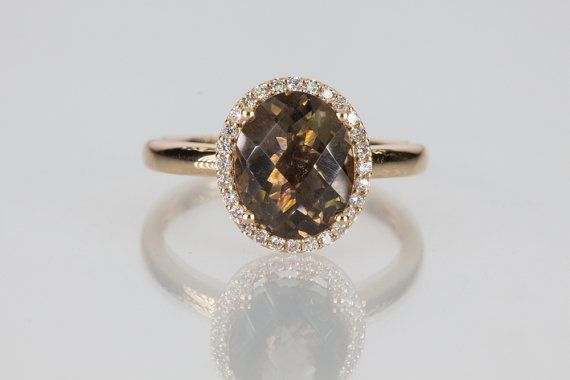18k Rose Gold Smoky Quartz Diamond Halo Engagement Ring on Etsy, $548.50 CAD