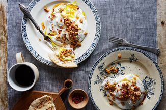Turkish-Style Poached Eggs with Garlic Yogurt, Chili Flakes & Walnut Butter Recipe on Food52