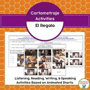 """These listening, reading, writing, and speaking activities accompany the cortometraje """"El Regalo""""(link included). Similar to MovieTalk, these lessons focus not only on speaking, but on all communicative skills.Students are introduced to 8 key vocabulary words that will help them to talk about the story in Spanish."""