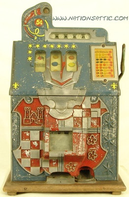 1938 MILLS NOVELTY CASTLE FRONT 5c ANTIQUE SLOT MACHINE #antiqueslotcoinmachine