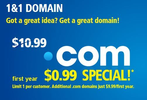 Domain names worth Rs. $ 10.99 at a special price of just $ 0.99 for first year per customer.