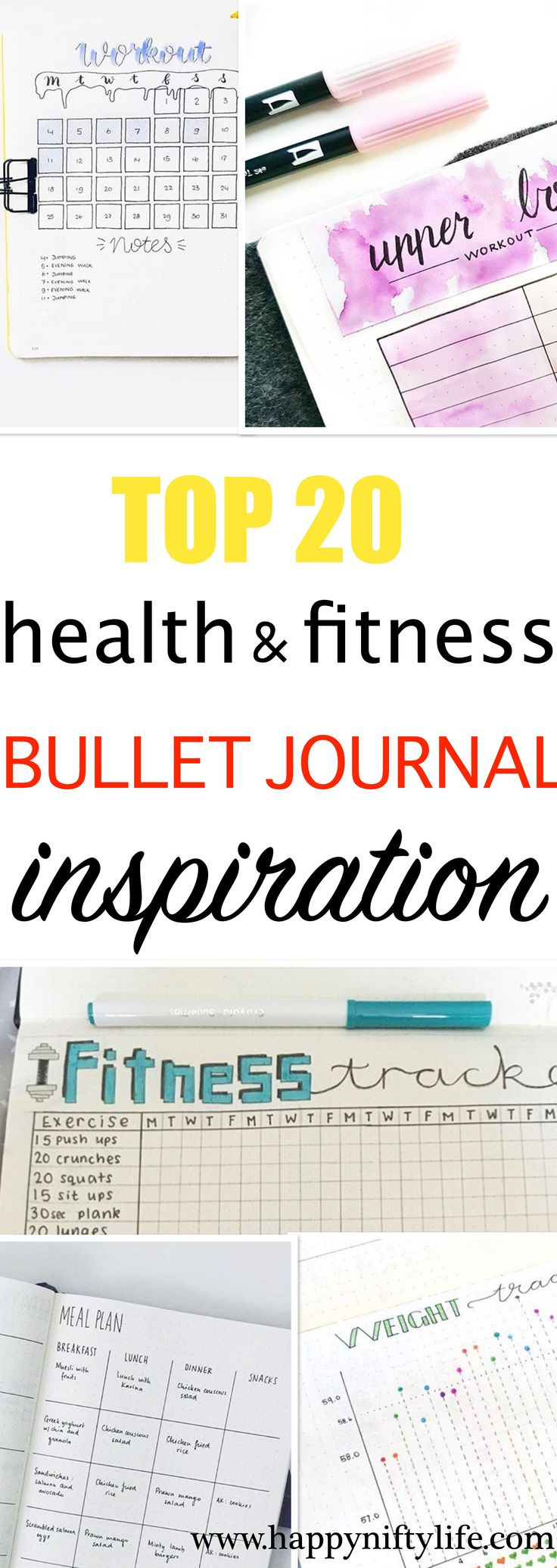 Very inspiring bullet journal page ideas for tracking health, fitness and weight loss. Bullet journal workout tracker and fitness tracker layout ideas #bulletjournal #bulletjournalpageideas #fitnessbujo #bujoideas #bujojunkies