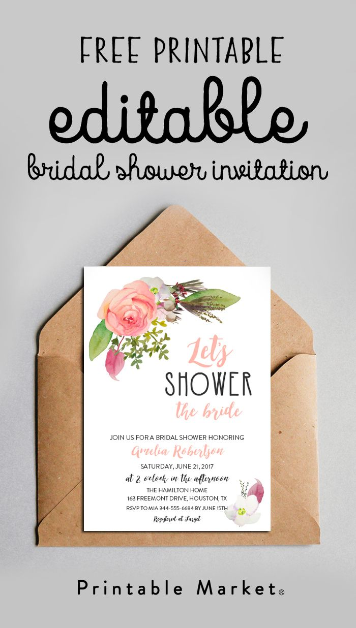 Free Bridal Shower Invitation – Editable Let's Shower the Bride Watercolor Flowers Printable – Printable Market