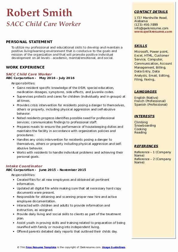Child Care Job Description Resume Best Child Care Worker
