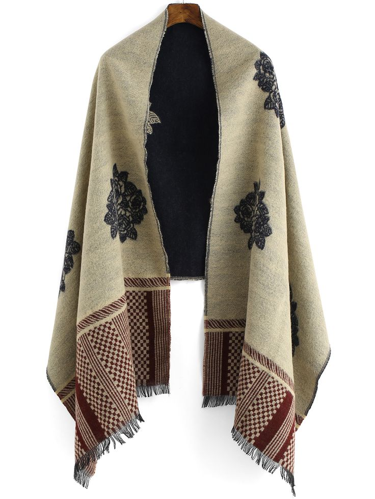 Multicolor Geometric Print Fringe Scarve ,Perfect for Women!