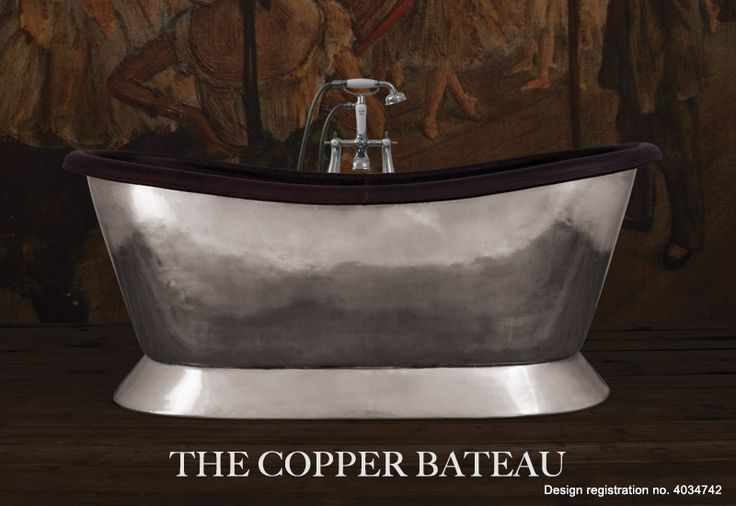 Our beautiful copper bath with brushed nickel exterior. Finished off with a conway leather roll. copper, metallic, leather, luxury, bathroom, copper bath, home, decoration, home decor