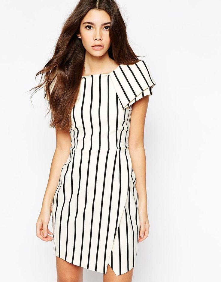 Vesper | Vesper Stripe Asymmetric Pencil Dress With Origami Sleeve at ASOS