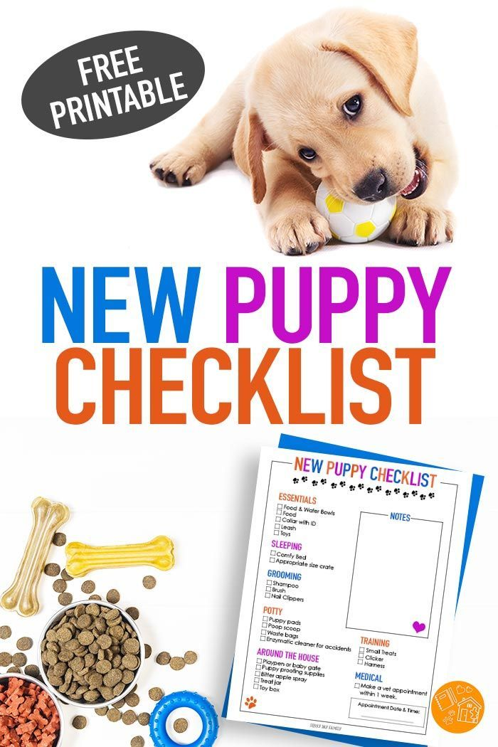Free Printable New Puppy Checklist For Dog Moms Newpuppy New