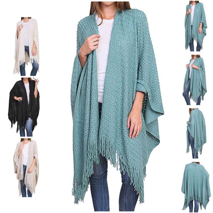 Woman Winter Waffle Knit Fringed Winter Kimono 100% Acrylic 4 Colors