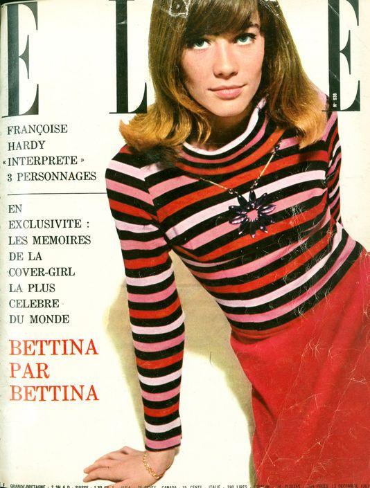 """Le 13 décembre 1963, le magazine Elle met à la """"une"""" Françoise Hardy, âgée de 19 ans, vêtue d'un petit pull Rykiel rayé de rouge et rose"""