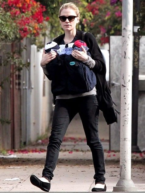 Anna paquin in venice twin baby carrier from weego com
