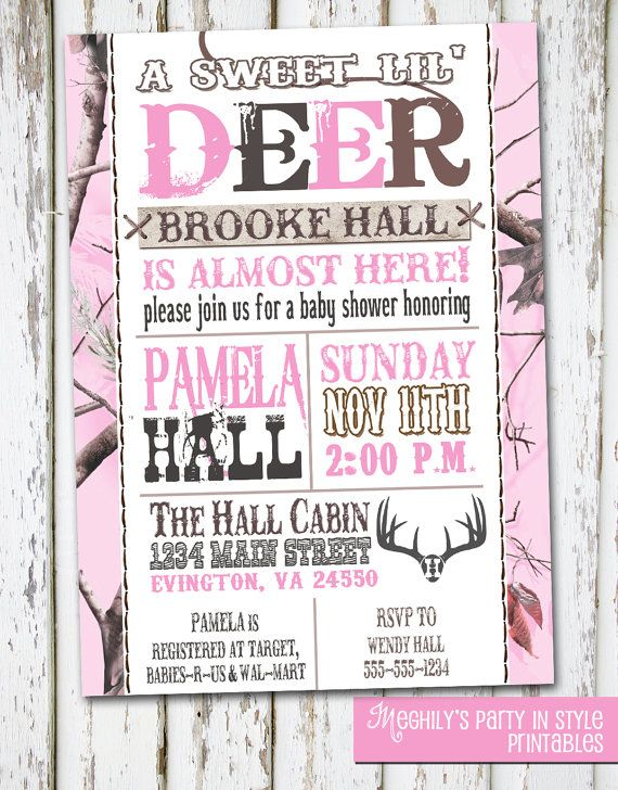 Hunting Theme  Sweet Lil' Deer  Baby Shower Invitation by Meghilys, $8.00
