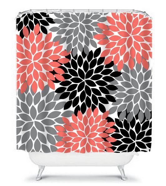 Coral Gray Black SHOWER CURTAIN Flowers Custom MONOGRAM Personalized Bathroom Decor Bath Beach