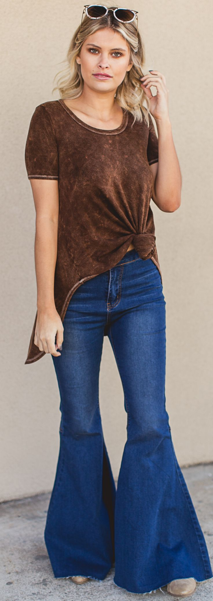 Trend alert: bell bottoms + acid wash! We are LOVING this 70s throwback outfit! #fashion #style #outfits