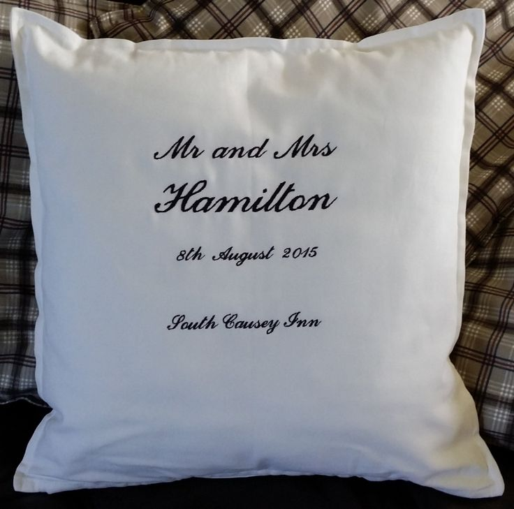 Wedding Cushion Personalised With Embroidered names, Date and Venue by MadeByMAP on Etsy