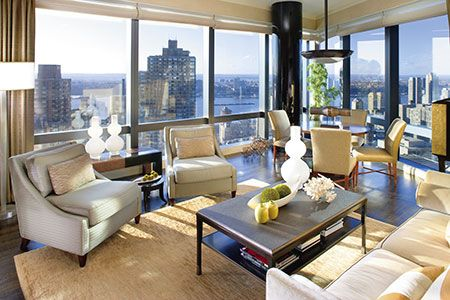 Elegant interiors and sweeping views of Central Park make this suite the hotel's most requested; Mandarin Oriental, New York.