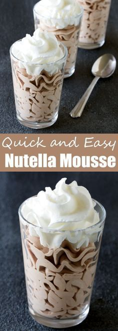 This 3 ingredient dessert will win you over immediately. Nutella Mousse is a quick, easy, and delicious dessert! À essayer en remplaçant le Nutella par une pâte à tartiner faite maison :)