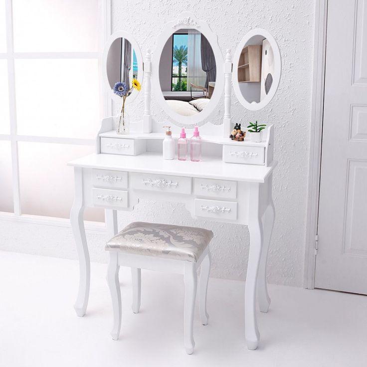 SEA400 Masă de toaletă cu 7 sertare și 3 oglinzi - http://www.emobili.ro/cumpara/sea400-set-masa-alba-toaleta-cosmetica-machiaj-oglinda-masuta-vanity-830 #eMobili