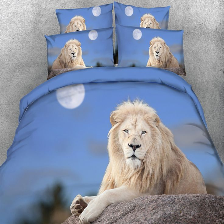 ==> [Free Shipping] Buy Best Free Shipping HD digital 3d print Rare White Lion bedding set double bed linen super king size duvet bedclothes 4 Parts Per Set Online with LOWEST Price | 32814862167