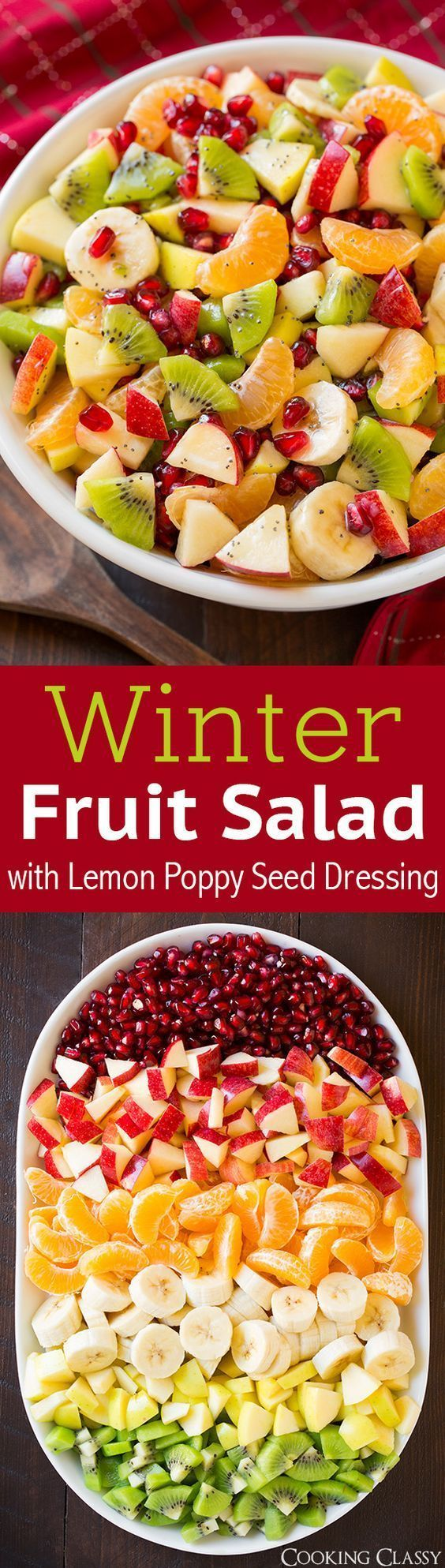 Winter Fruit Salad with Lemon Poppy Seed Dressing - SO GOOD I made it two days in a row! Perfect colors for the holidays. Everyone loved it! (Holiday Sweet Recipes)