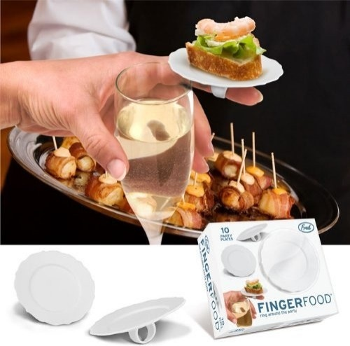 Clever, whimsical. But what if you want more than one appetizer? I guess you could have one on each finger? Fingerfood Ring Plate By Ken Goldman eclectic serveware