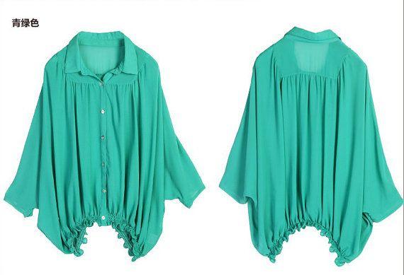 Beauty/Womens Clothing Women Shirt Women Blouse Plus Size Petite Maternity Casual Shirt Blouse Silk Cotton Batwing Sleeve Green Top KL058T