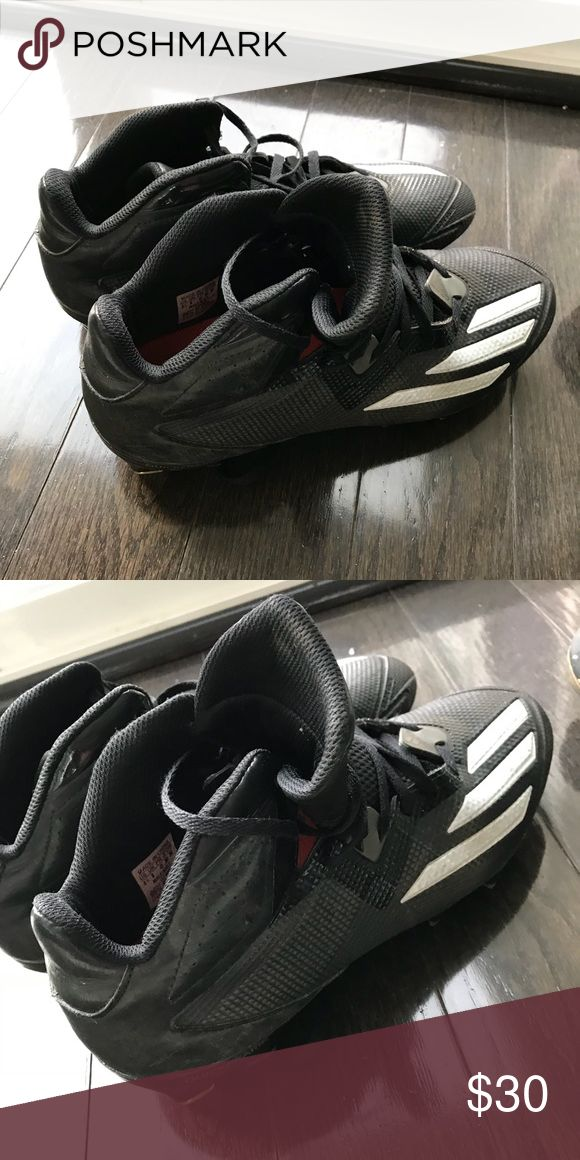 Men's Football cleats. Size 8.5. Adidas brand. Black with white accent stripes. Worn one season. Molded cleats (not interchangeable) great for youth football. adidas Shoes Athletic Shoes