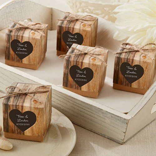 The perfect favor boxes for a woodsy wedding.  Personalized Rustic Heart Favor Boxes