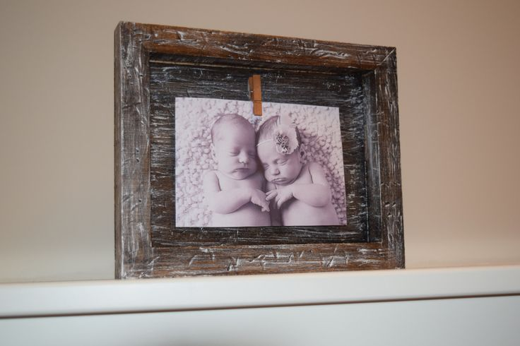 Rustic picture frame, wood frame, rustic frame, clothespin frame