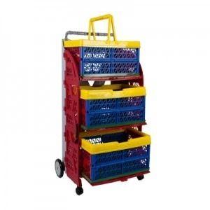 carrinho de compras feira com rodas dobravel com 3 caixas