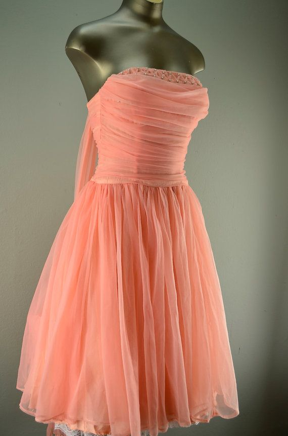 1950s coral party dress