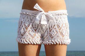 Cortocircuitos de la playa de crochet blanco exclusivo