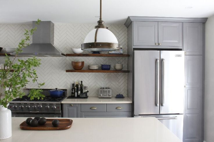 Kitchen With Subway Tile To Ceiling