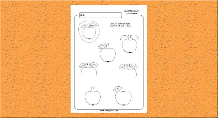 Dokresľujeme jabĺčka. - Aktivity pre deti, pracovné listy, online testy a iné