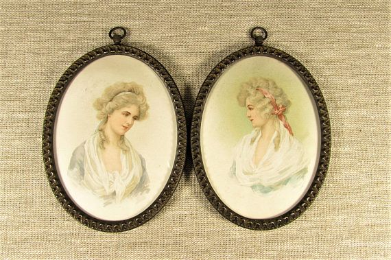 Graceful Lady Wall Hanging  Vintage Pair Pastel Cameo Tin