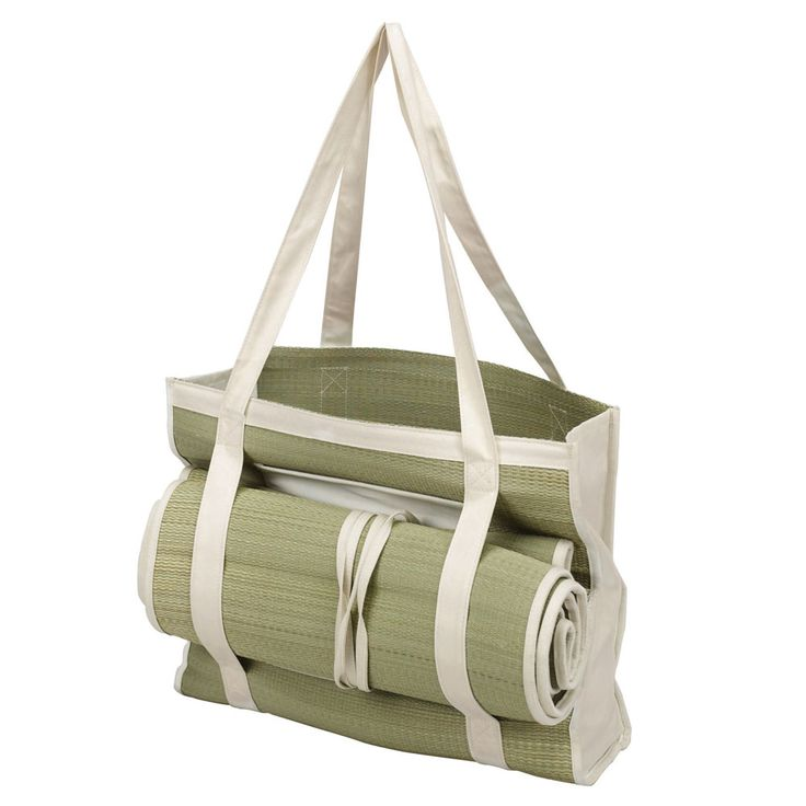 "Tote size: 14-1/2W"" x 12""H x 4L"" Mat size: 72""L x 27-1/2""W This natural straw tote bag with picnic mat is a must-have for eco-friendly minded individuals. The tote bag is spacious with room to fit in your groceries, books, or personal accessories. It makes an ideal gift for your guests especially the female ones, and also works well as a family bag for any occasion. This handy bag is made from straw and 100% cotton. The matching straw mat is soft, yet durable to be used for different…"