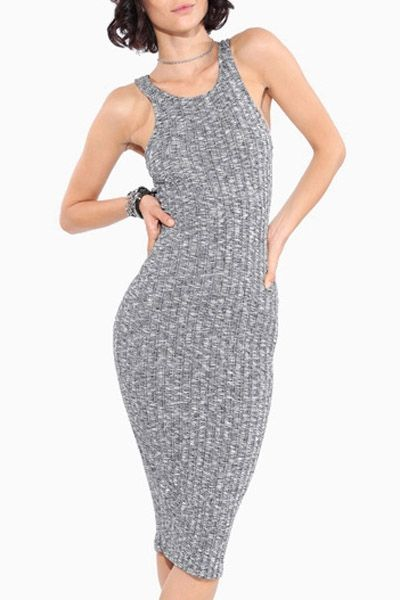 Scoop Neck Fitted Sleeveless Knitted Dress
