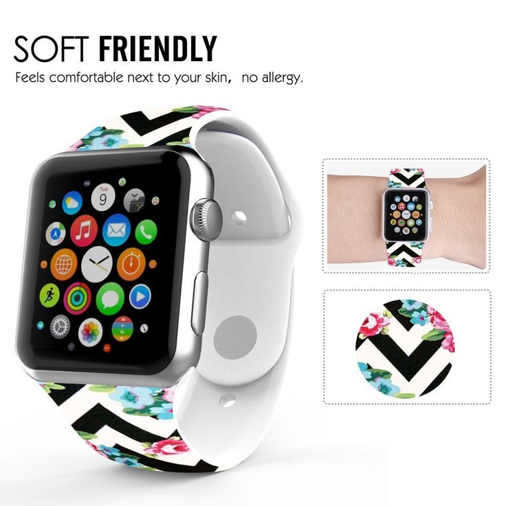 Amazon.com: Apple Watch Band 38mm, Soft Silicone Replacement Sport Band for 38mm Apple Watch Models, WHITE - Black Chevron flowers: Cell Phones & Accessories