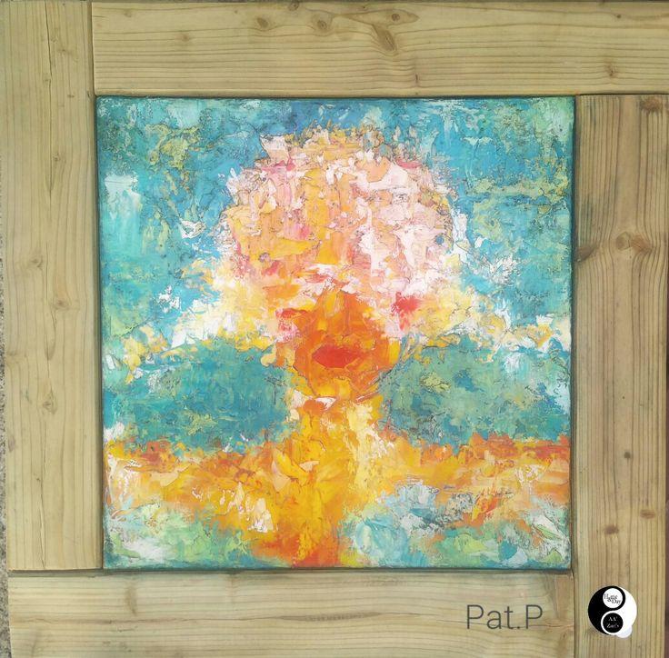 """Pat.P """"Autoportrait """" huile au couteau sur toile 50x50 #peinture #gallery #art #sartene"""