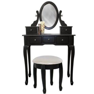 Best Black Vanity Table Set Jewelry Armoire Makeup Desk Bench 640 x 480