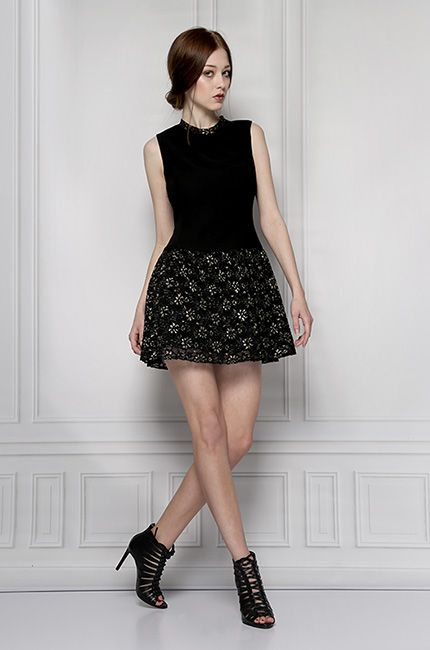 lace black dress gold furelle