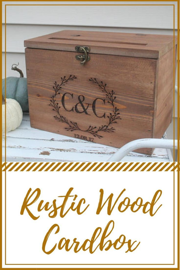 Looking for a unique, yet popular rustic wood cardbox? This rustic cardbox perfect gift for anniversary, graduation, or wedding gift.  #farmhousedecor #ad #rusticcardbox #weddinggift #graduationgift #giftforher